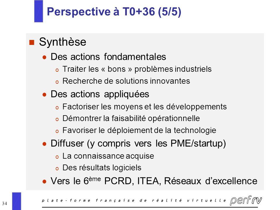 Perspective à T0+36 (5/5) Synthèse Des actions fondamentales