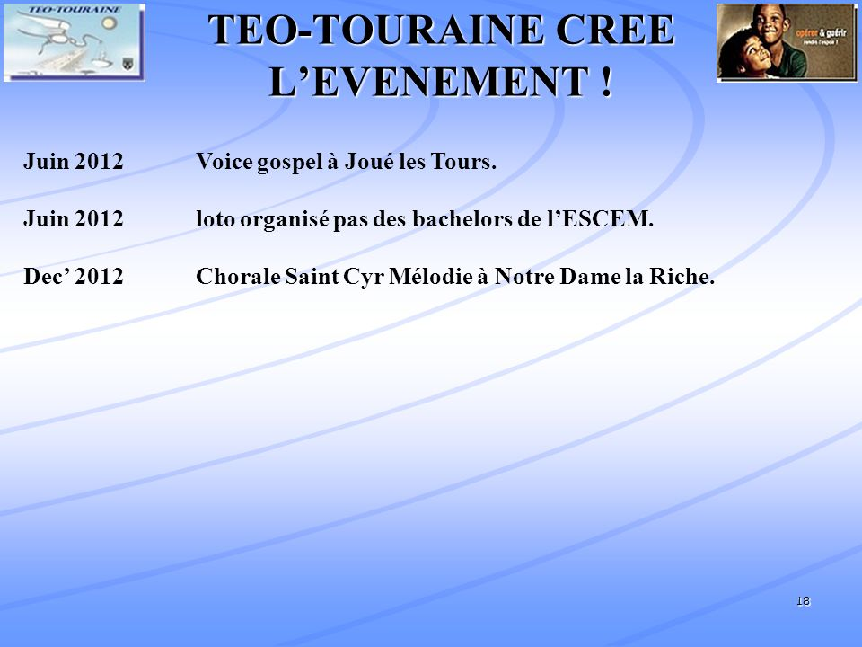 TEO-TOURAINE CREE L'EVENEMENT !