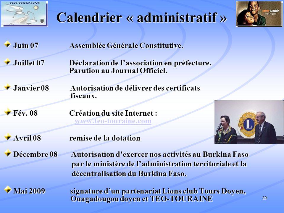 Calendrier « administratif »