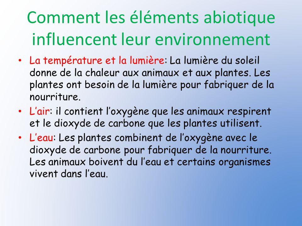Comment les éléments abiotique influencent leur environnement