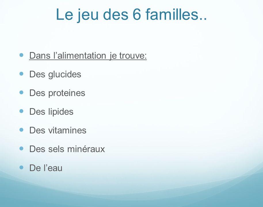 Le jeu des 6 familles.. Dans l'alimentation je trouve: Des glucides