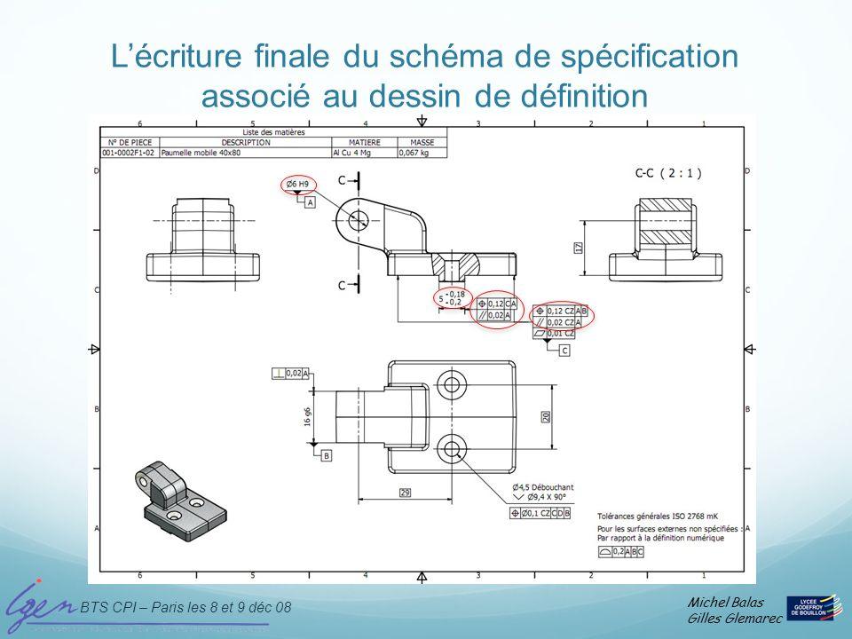 L'écriture finale du schéma de spécification associé au dessin de définition