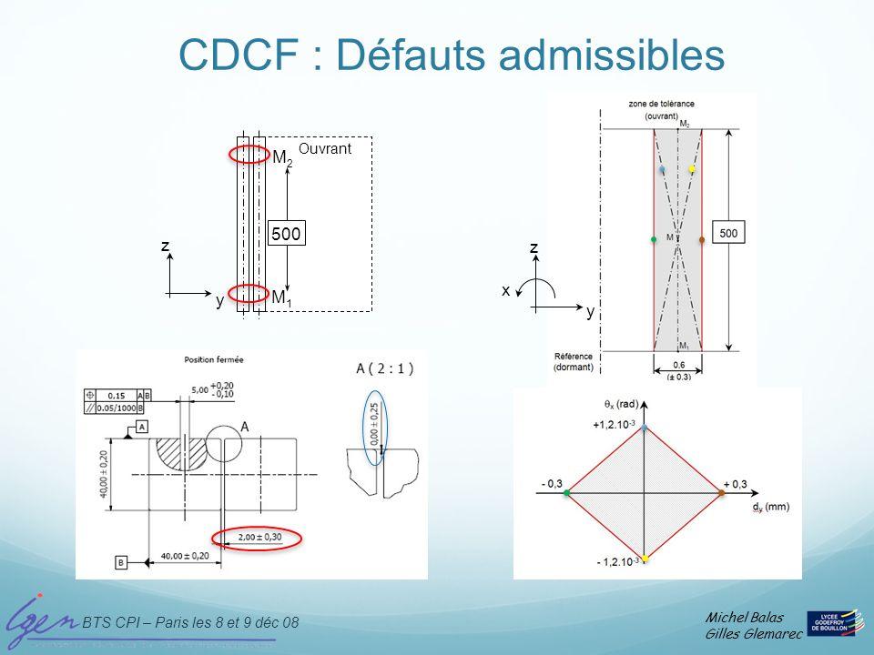 CDCF : Défauts admissibles