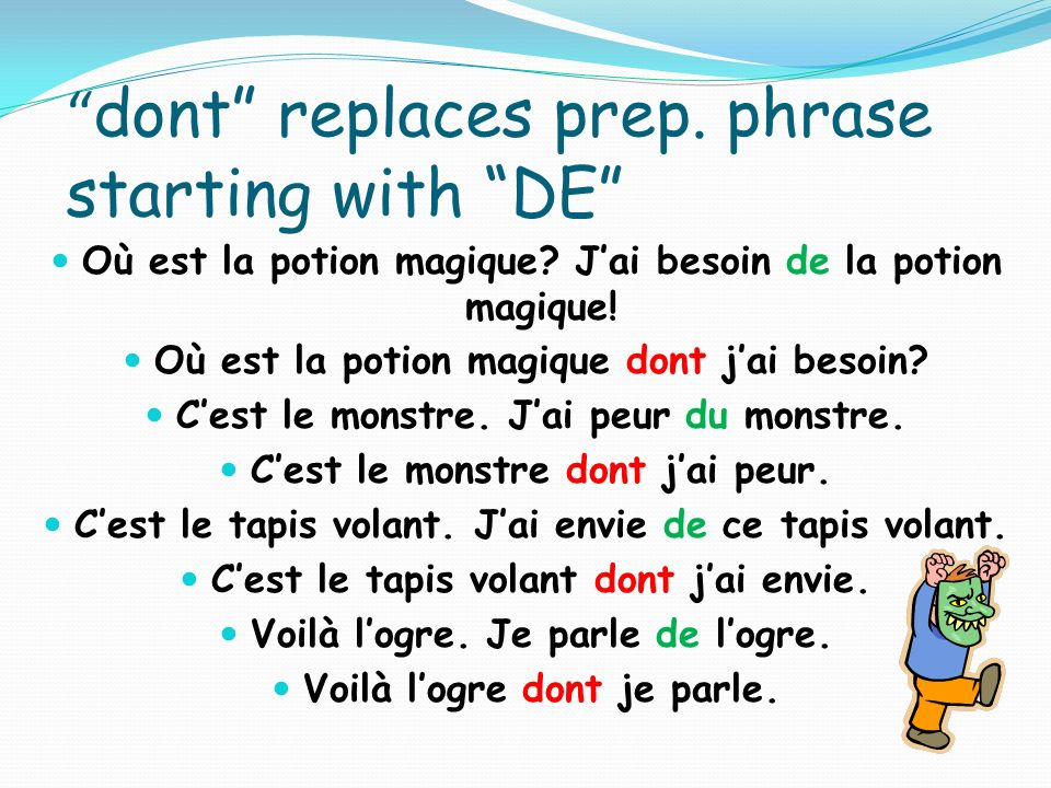 dont replaces prep. phrase starting with DE