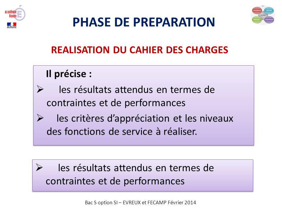PHASE DE PREPARATION REALISATION DU CAHIER DES CHARGES Il précise :