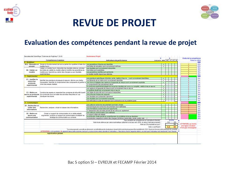 REVUE DE PROJET Evaluation des compétences pendant la revue de projet