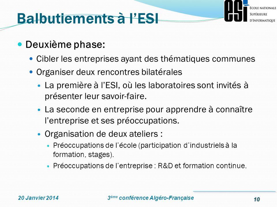 Balbutiements à l'ESI Deuxième phase: