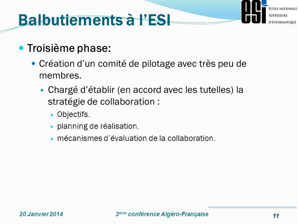 Balbutiements à l'ESI Troisième phase: