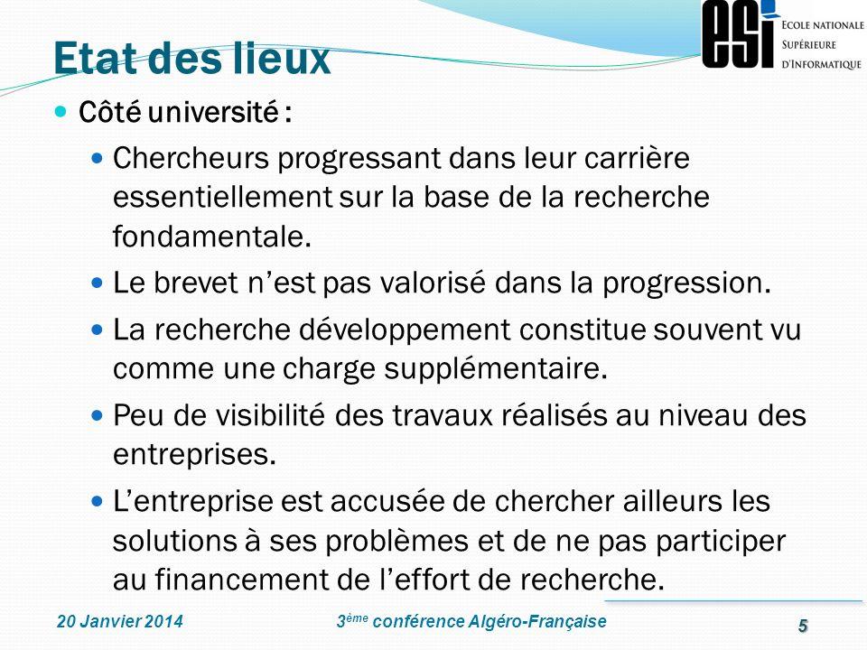 Etat des lieux Côté université : Chercheurs progressant dans leur carrière essentiellement sur la base de la recherche fondamentale.