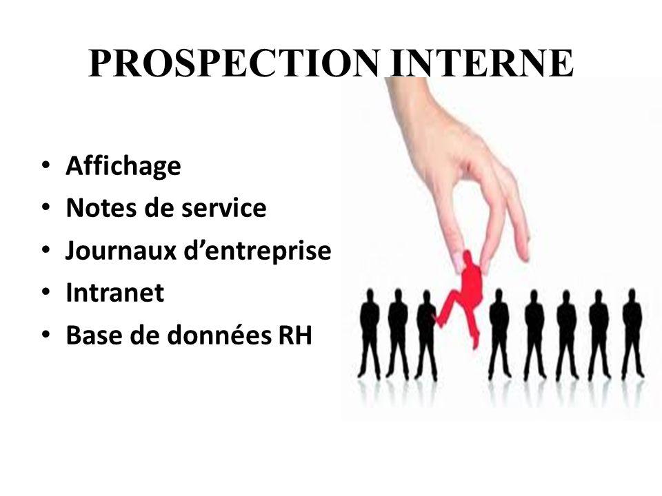 PROSPECTION INTERNE Affichage Notes de service Journaux d'entreprise