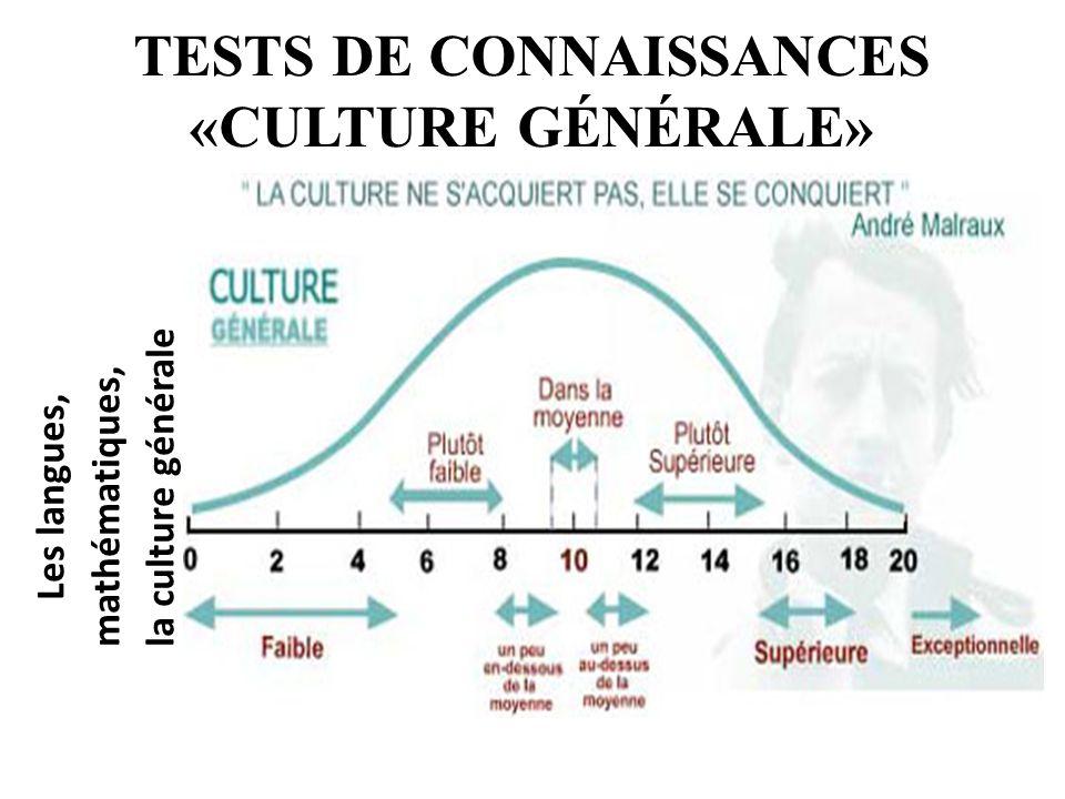 TESTS DE CONNAISSANCES «CULTURE GÉNÉRALE»