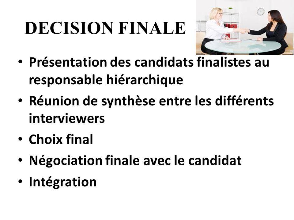 DECISION FINALE Présentation des candidats finalistes au responsable hiérarchique. Réunion de synthèse entre les différents interviewers.