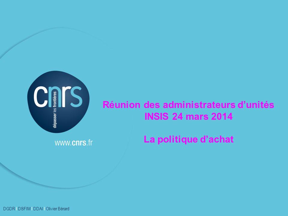 Réunion des administrateurs d'unités INSIS 24 mars 2014 La politique d'achat