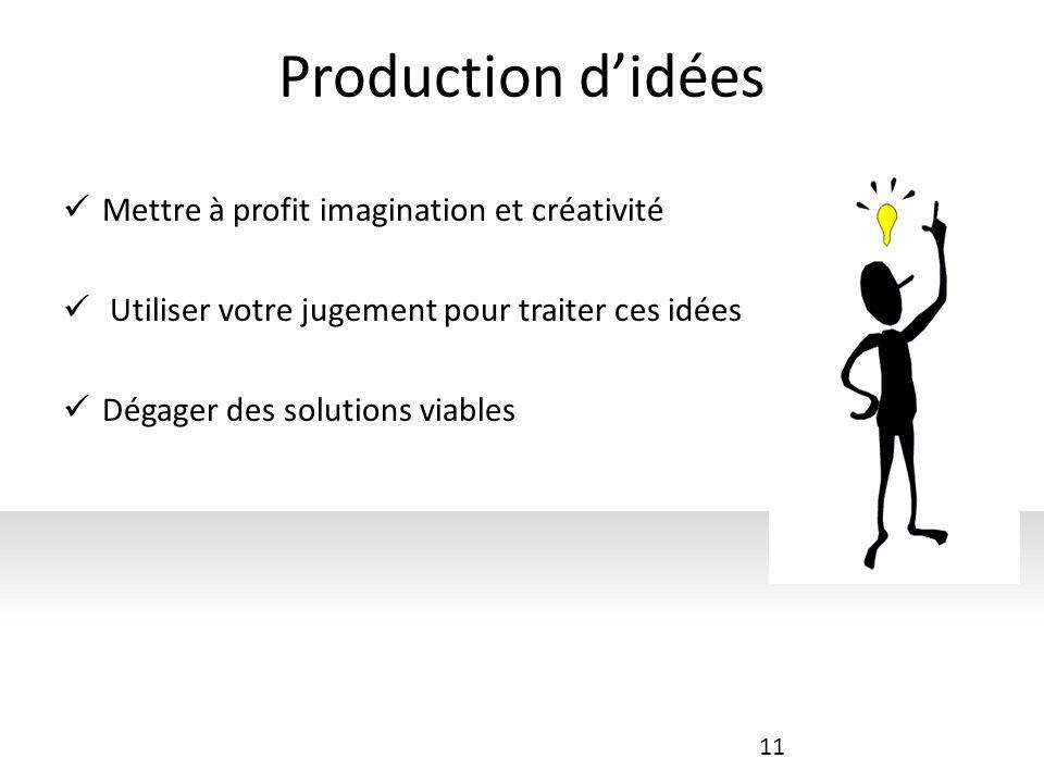 Production d'idées Mettre à profit imagination et créativité