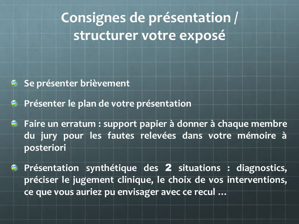 Consignes de présentation / structurer votre exposé