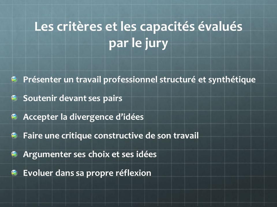 Les critères et les capacités évalués par le jury