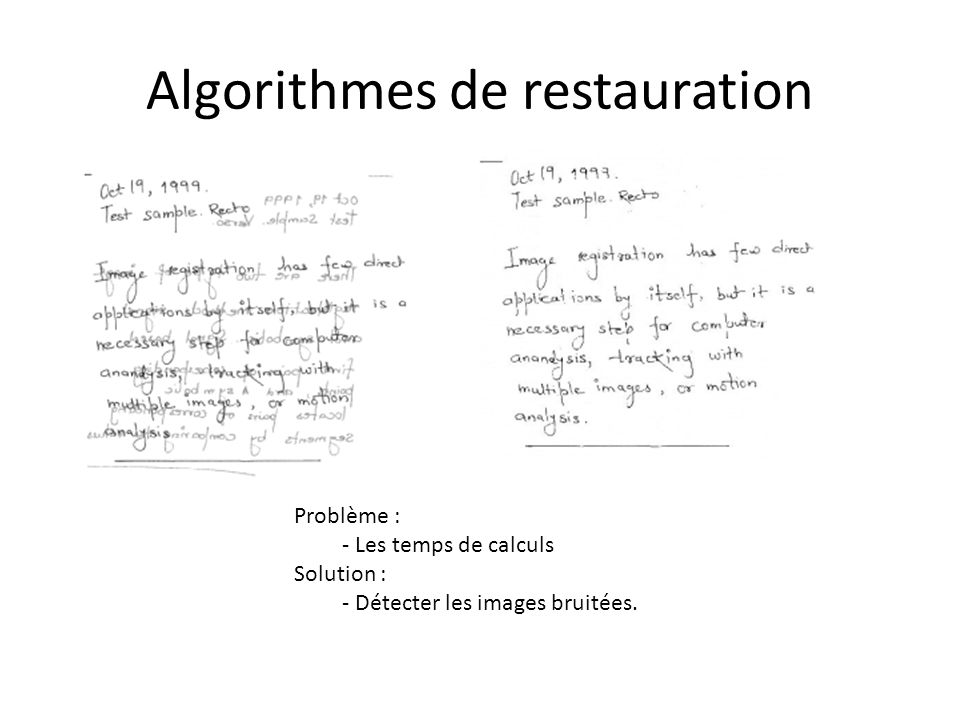 Algorithmes de restauration