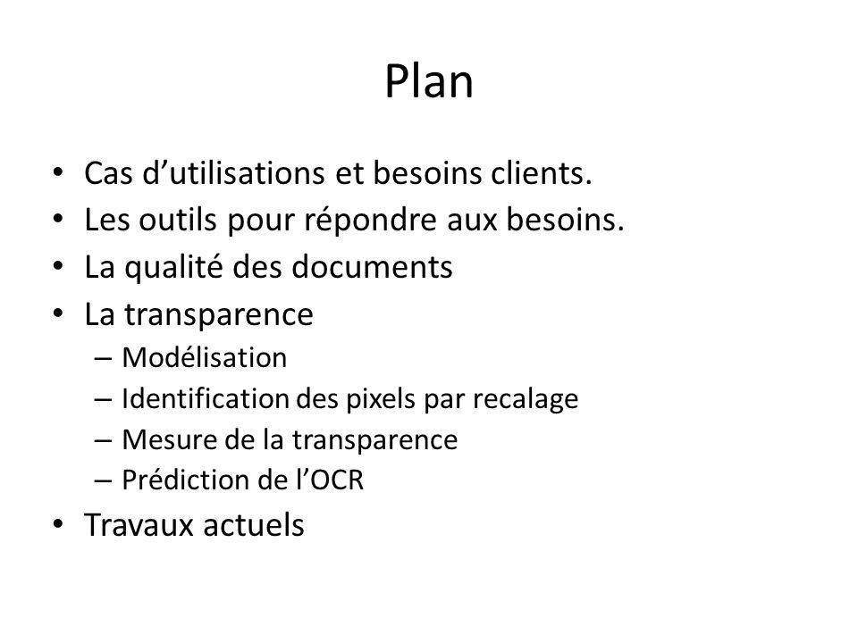 Plan Cas d'utilisations et besoins clients.