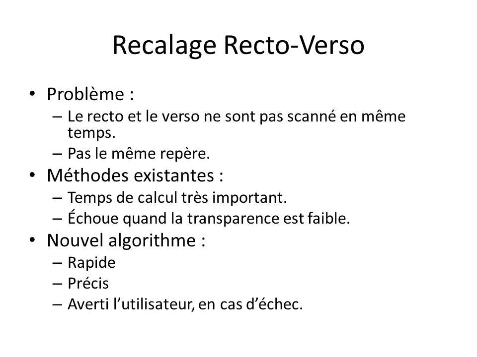 Recalage Recto-Verso Problème : Méthodes existantes :