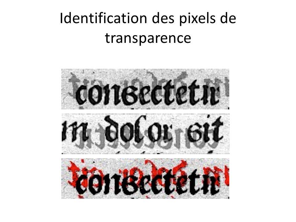 Identification des pixels de transparence