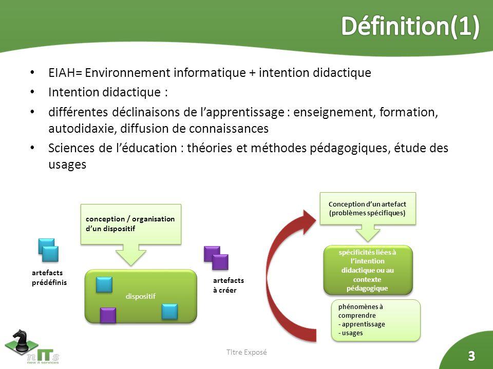Définition(1) EIAH= Environnement informatique + intention didactique