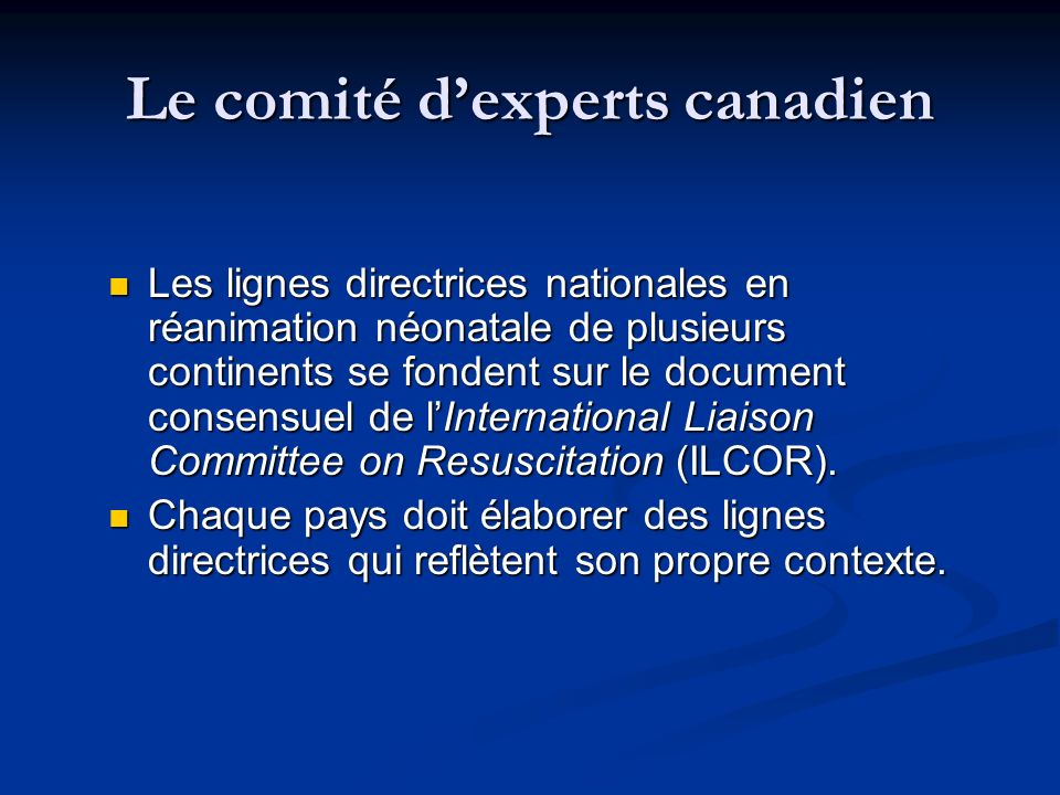 Le comité d'experts canadien