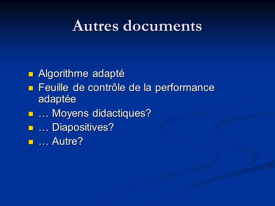 Autres documents Algorithme adapté