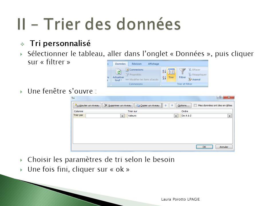 II – Trier des données Tri personnalisé
