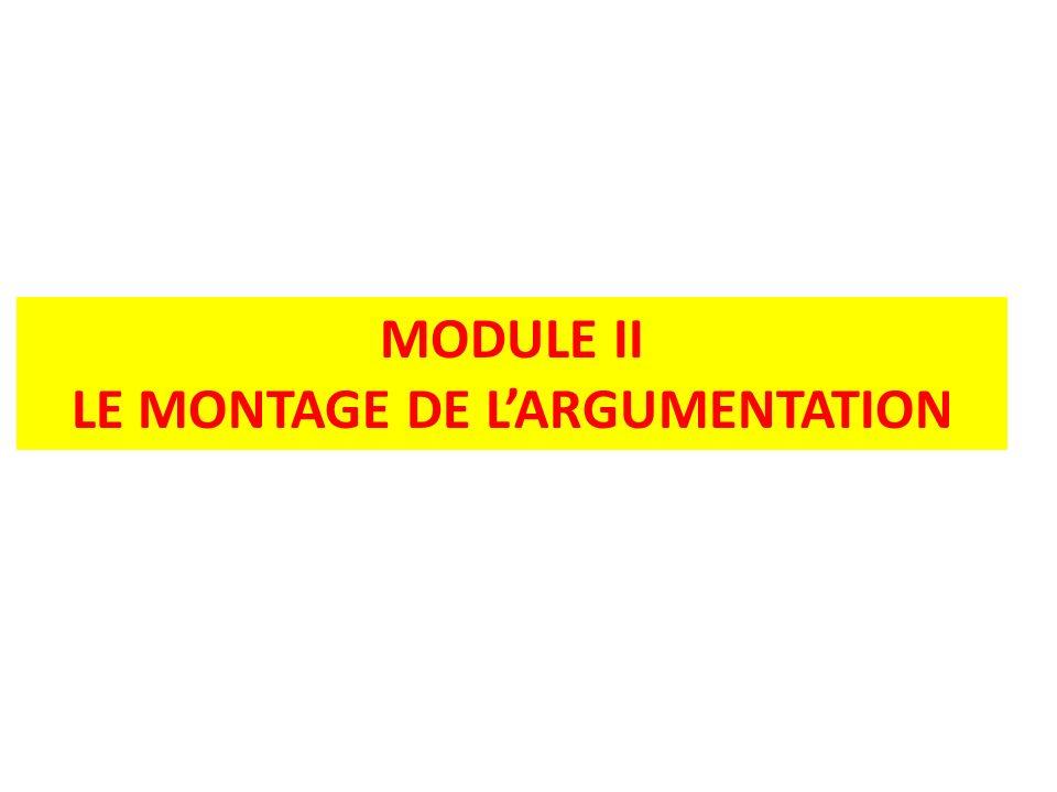 LE MONTAGE DE L'ARGUMENTATION