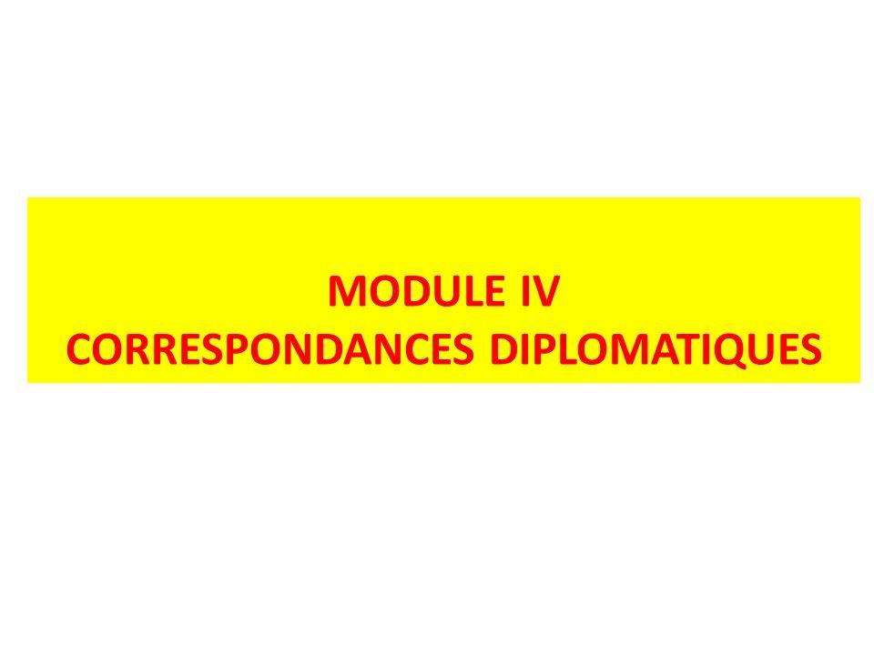 CORRESPONDANCES DIPLOMATIQUES