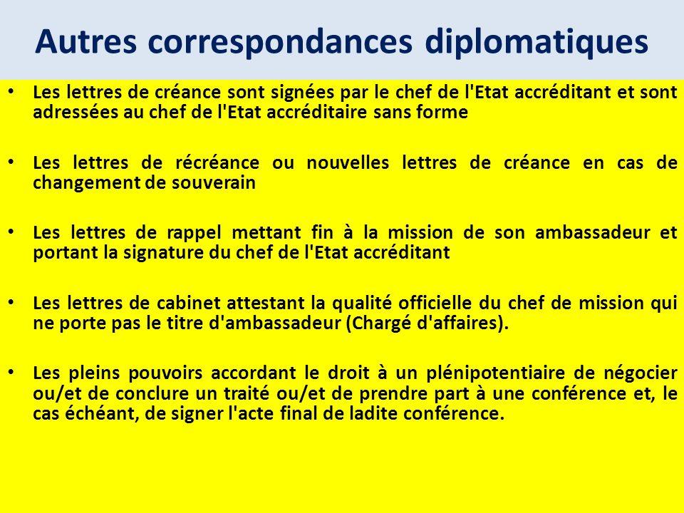 Autres correspondances diplomatiques