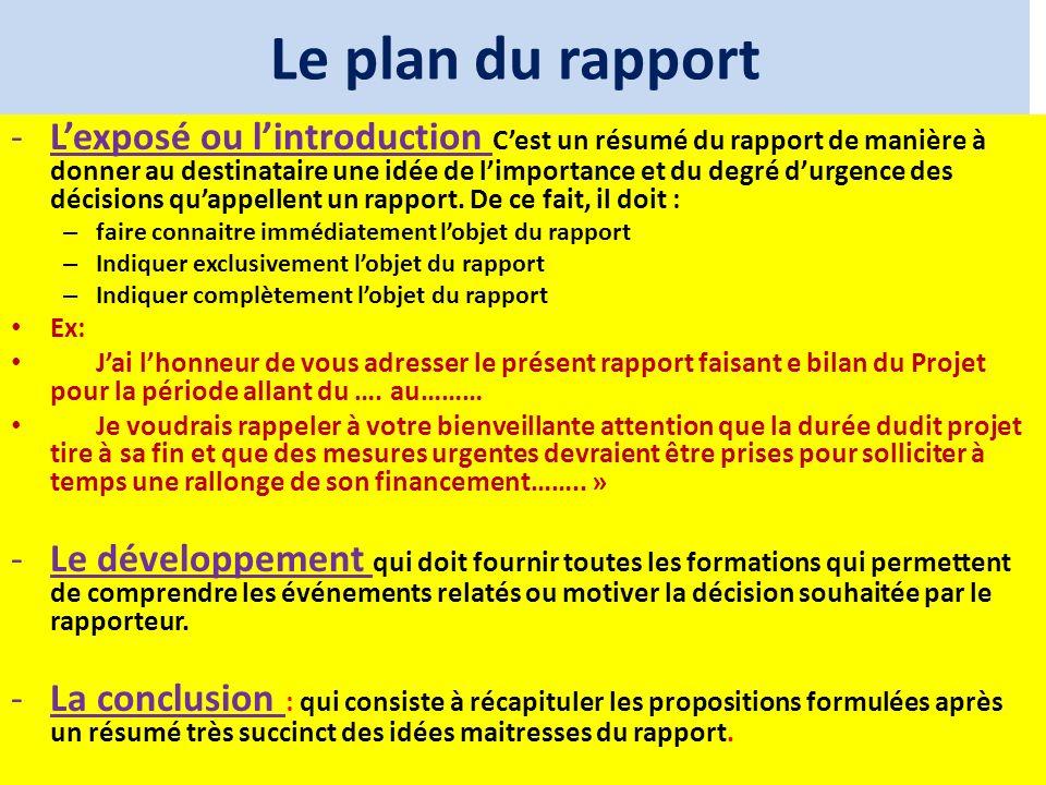 Le plan du rapport