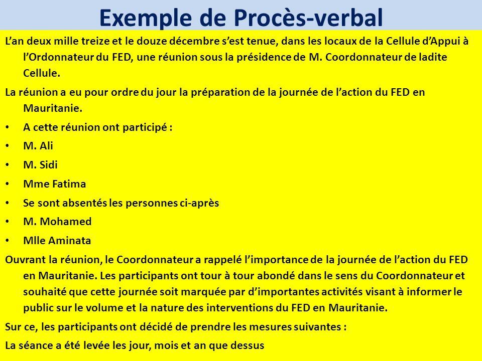 Exemple de Procès-verbal
