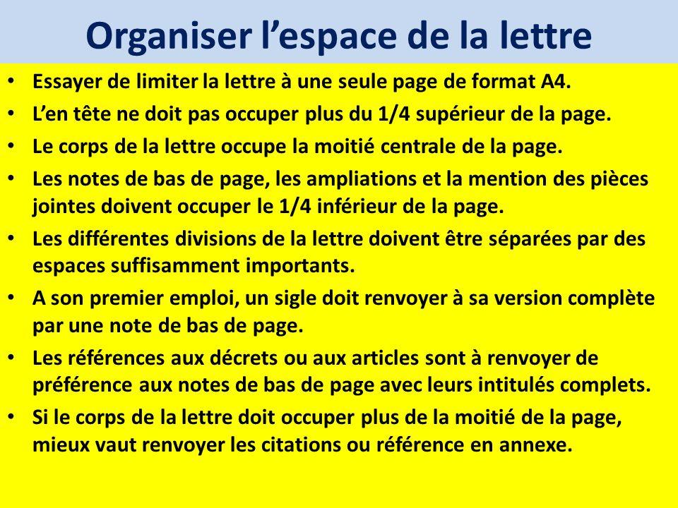 Organiser l'espace de la lettre