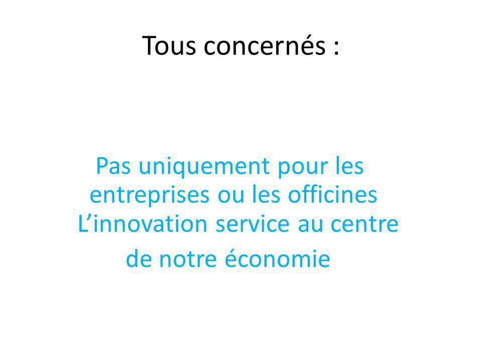Tous concernés : Pas uniquement pour les entreprises ou les officines L'innovation service au centre de notre économie