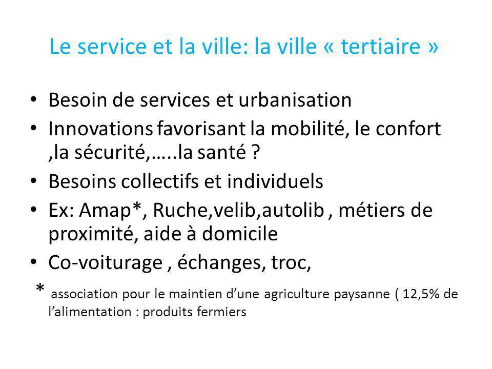 Le service et la ville: la ville « tertiaire »