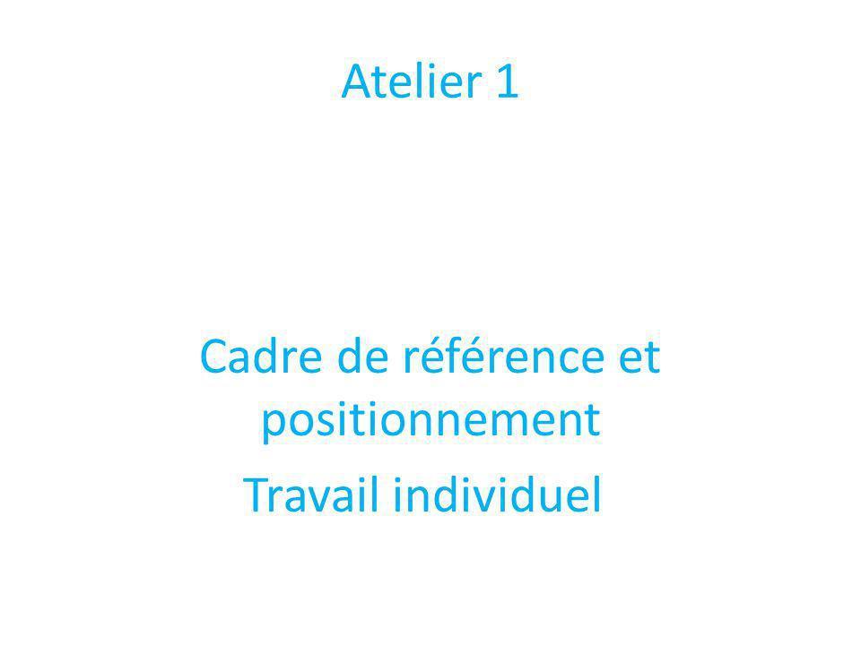 Atelier 1 Cadre de référence et positionnement Travail individuel