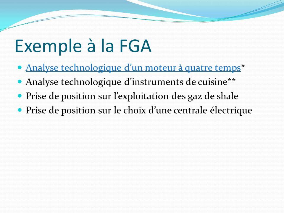 Exemple à la FGA Analyse technologique d'un moteur à quatre temps*