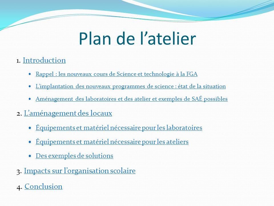 Plan de l'atelier 1. Introduction 2. L'aménagement des locaux
