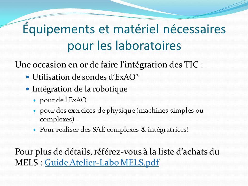 Équipements et matériel nécessaires pour les laboratoires