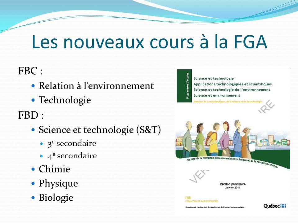 Les nouveaux cours à la FGA