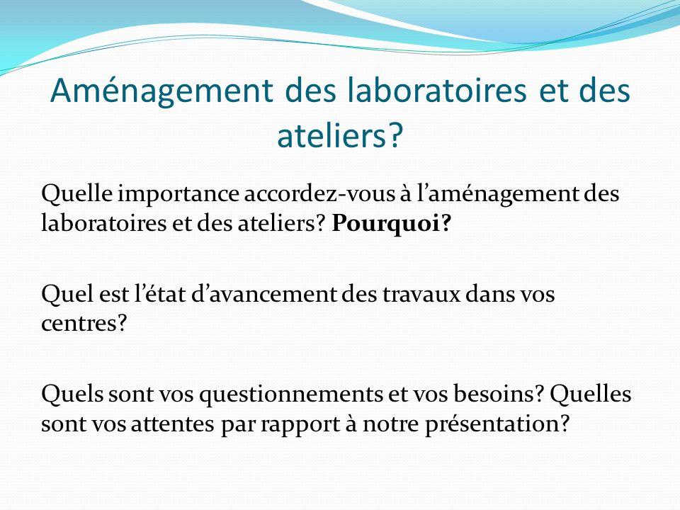 Aménagement des laboratoires et des ateliers