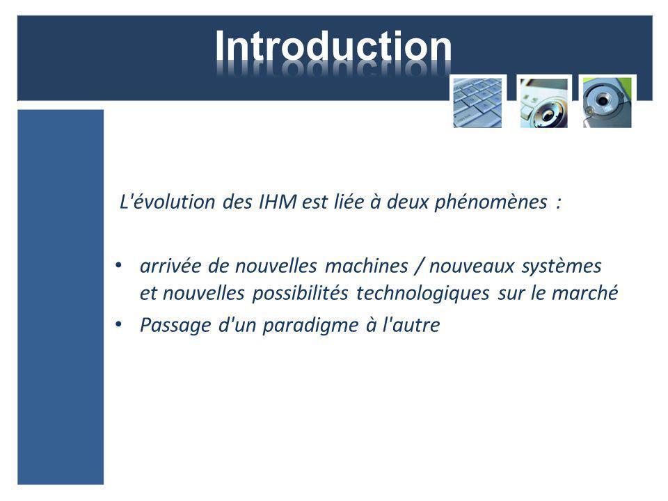 Introduction L évolution des IHM est liée à deux phénomènes :