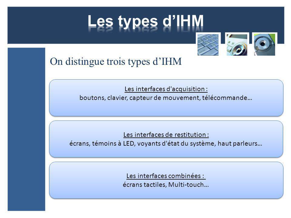 Les types d'IHM On distingue trois types d'IHM