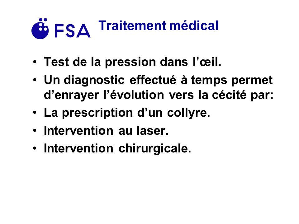 Traitement médical Test de la pression dans l'œil.