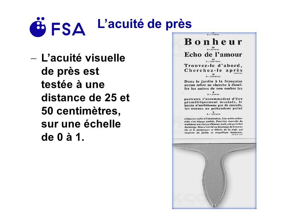 L'acuité de près L'acuité visuelle de près est testée à une distance de 25 et 50 centimètres, sur une échelle de 0 à 1.