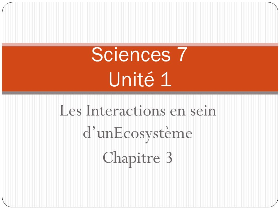 Les Interactions en sein d'unEcosystème Chapitre 3