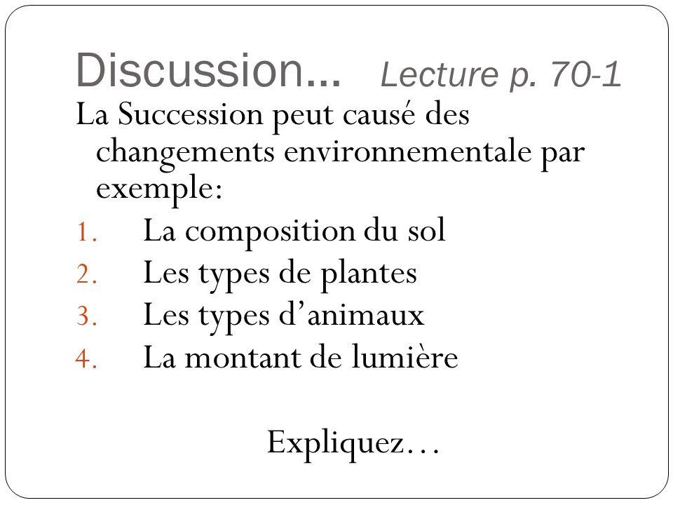 Discussion... Lecture p. 70-1 La Succession peut causé des changements environnementale par exemple: