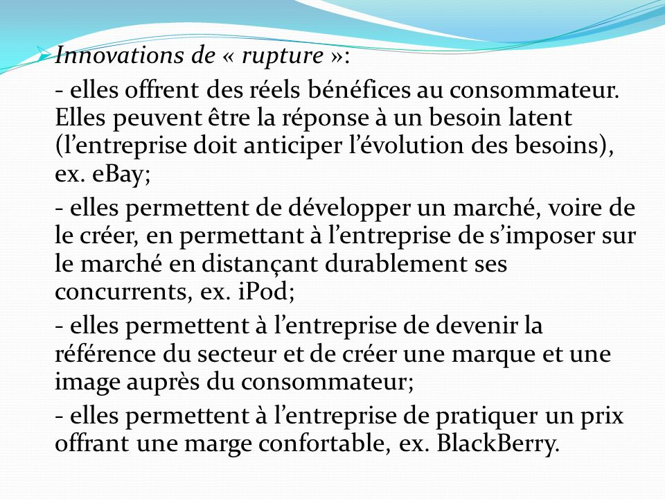 Innovations de « rupture »: