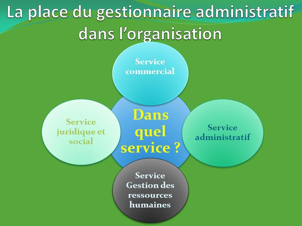 La place du gestionnaire administratif dans l'organisation